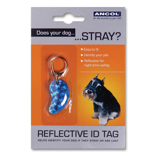 Ancol Dog Reflective ID Tag Assorted