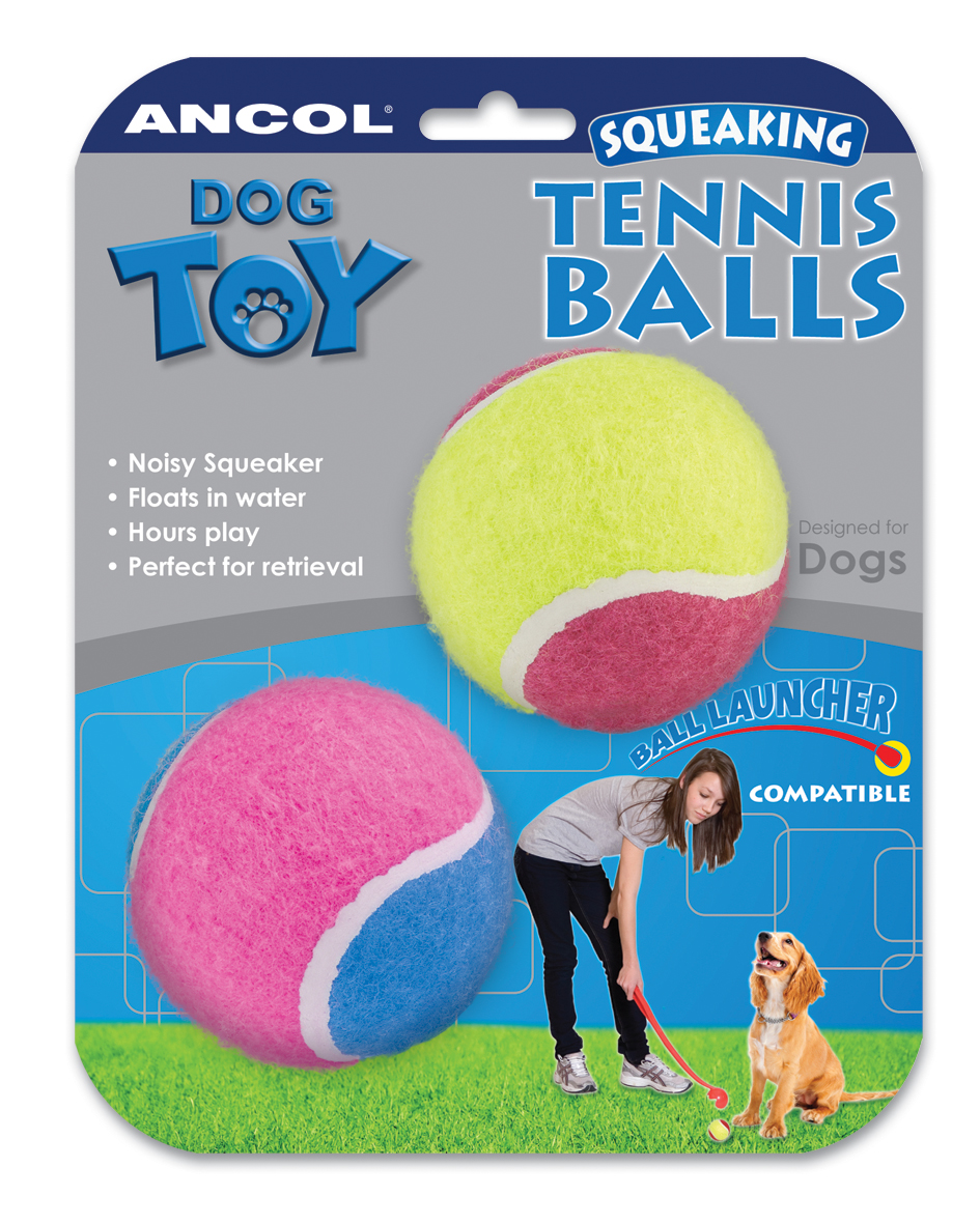 Ancol Squeaking Tennis Ball Dog Toy
