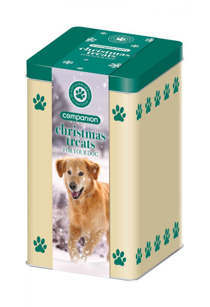 companion christmas dog treats tin