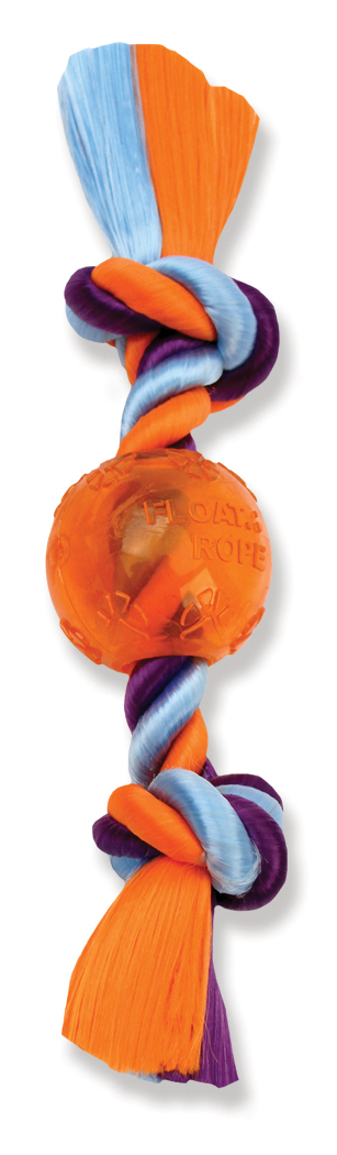 James & Steel Float Rope Medium Bone With Ball Dog Toy