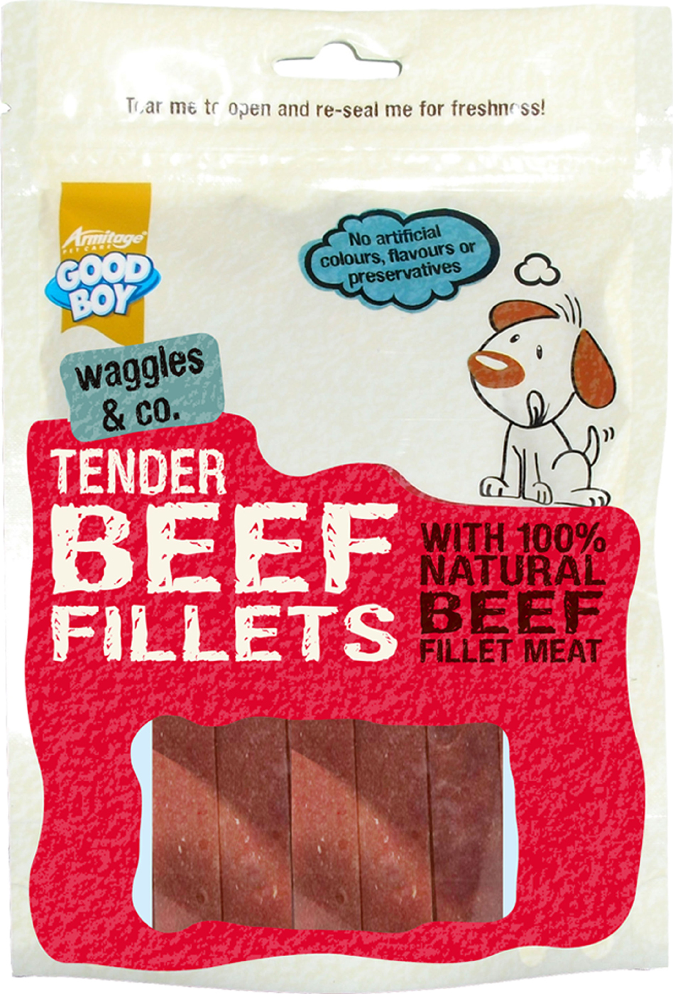 Good Boy Waggles & Co Tender Beef Fillets Dog Treats