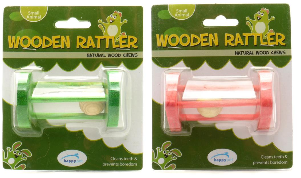 Happy Pet Wooden Rattler Natural Wood Small Animal Chew