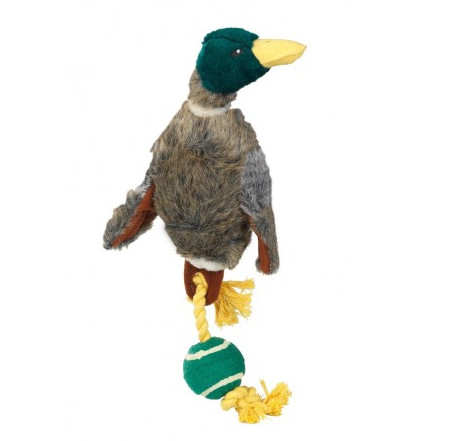 House of Paws Plush Duck with Tennis Ball Tail Dog Toy