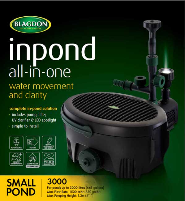 Interpet blagdon inpond all in one pumps for Small pond pump filter combo