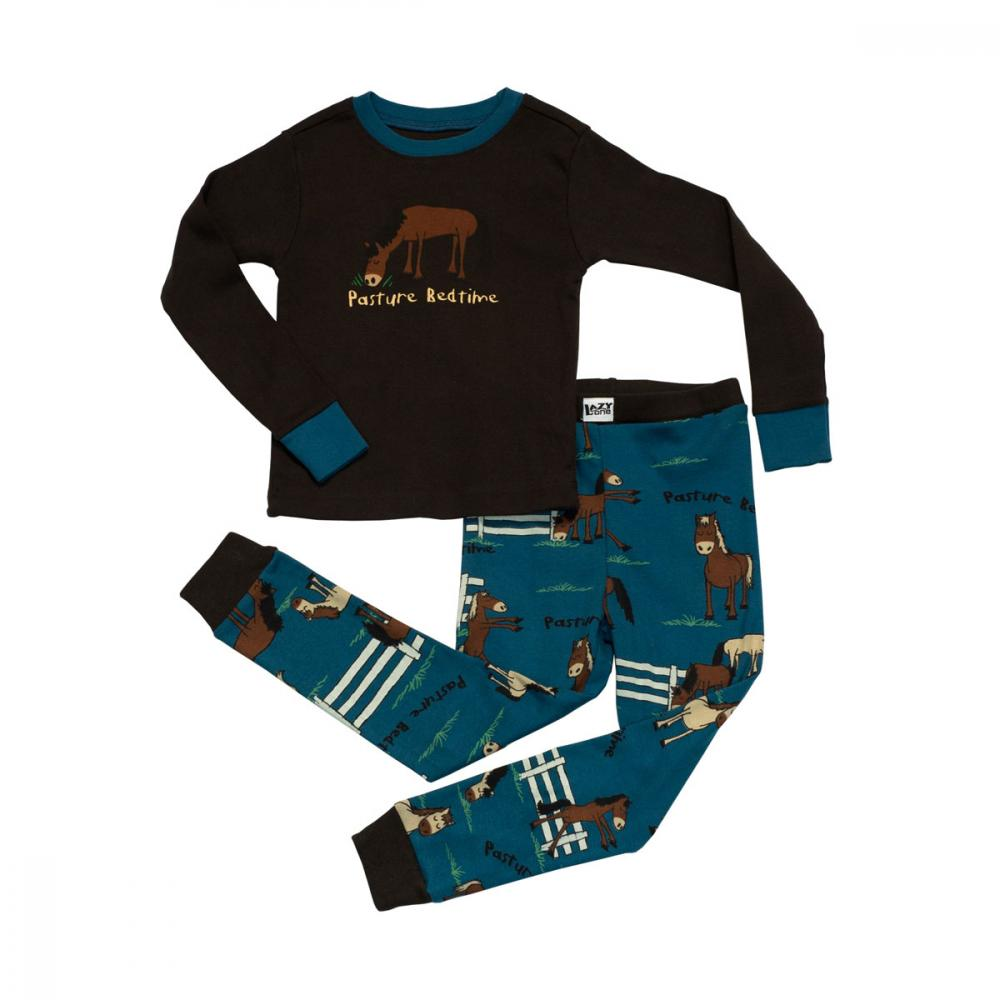 LazyOne Boys Pasture Bedtime Kids PJ Set Long Sleeve