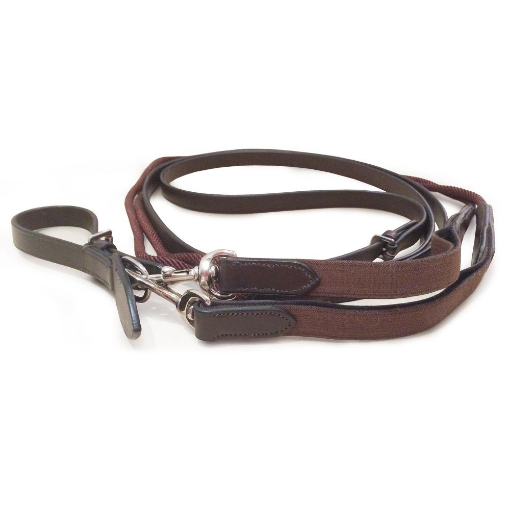 Mark Todd Leather/Rope Draw Reins with Elastic