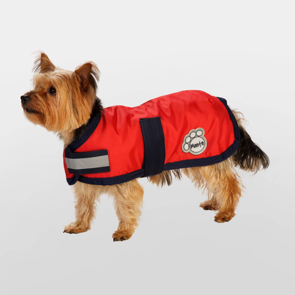 Masta Red Waterproof Nylon Dog Coat