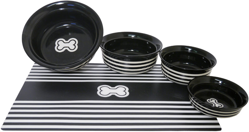 Rosewood Black Stripe Bowl & Placemat