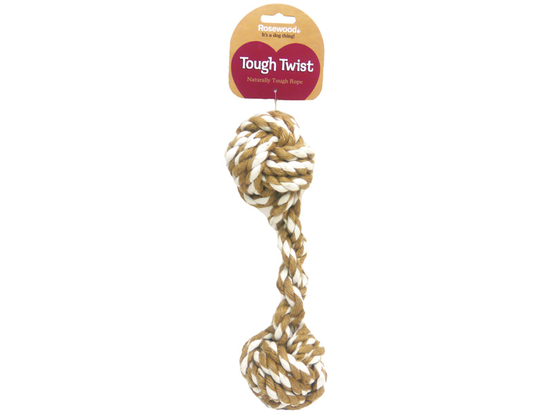 Rosewood Tough Twist Double Ball Rope Dog Toy