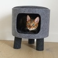 Catwalk Collection Charcoal Felt Cat Stool