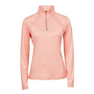 Dublin Maddison Ladies Long Sleeve Technical 1/4 Top Salmon Orange