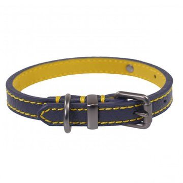 Joules For Dapper Dogs Navy Leather Dog Collar