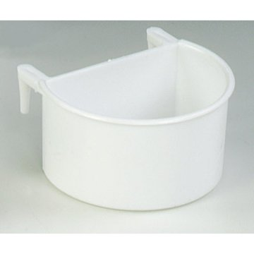Quiko White Plastic Hook-on D Cup Feeding Trough