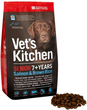 Vet's Kitchen Salmon & Brown Rice Senior 7+ complete dry dog food