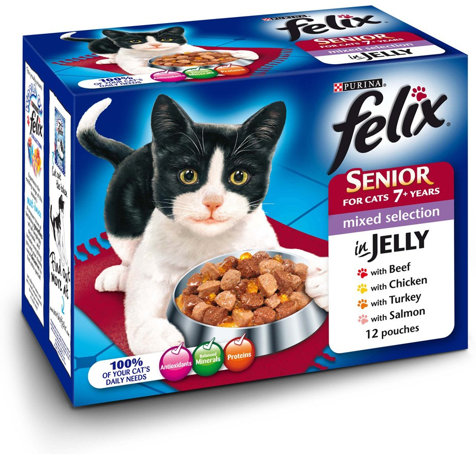 Felix Senior Mixed Cat Food » Fish & Meat Selection Wet » 48 x 100g ...